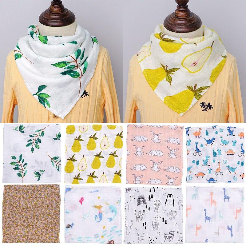 Muslin Baby Blankets Newborn Swaddle Wrap Soft Bamboo Cotton Baby Bibs Bandana Infant Feeding Burp Cloth Towel Scarf Baby Stuff