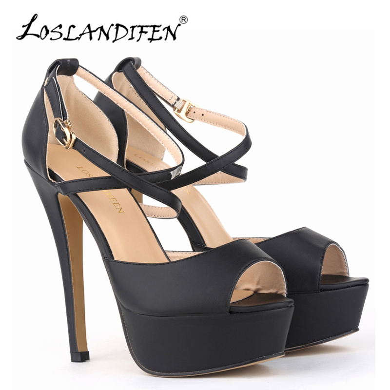 LOSLANDIFEN Women Pumps Matte Leather High Heels Shoes Peep Toe Platform Ankle Strap Pumps Wedding Party Shoes Woman 817-8MA women luxury shoes platform pumps bridal wedding lolita shoes black red beige bottom peep toe high heels fetish shoes size 4 16