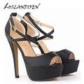 LOSLANDIFEN Women Pumps Matte Leather High Heels Shoes Peep Toe Platform Ankle Strap Pumps Wedding Party Shoes Woman 817-8MA