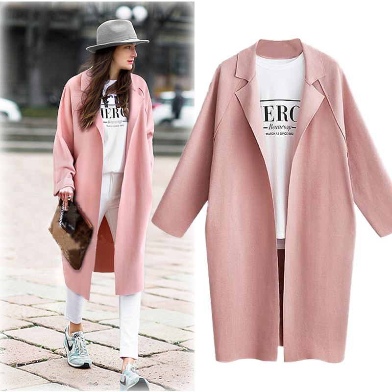 Long Solid Open Front Cardigan Pink Blazer Women Kawaii Elegant Fashion Blaser Mujer 2019 Autumn Office Lady Business Suits