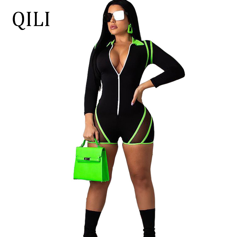 QILI Summer Women Long Sleeve Jumpsuits Zipper Patchwork Mesh Rompers Playsuits Casual Jumpsuit Overalls For Women