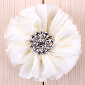 "Image 3 - (120pcs/lot)2.8"" 15 Colors Fluffy Ruffled Flower For Hair Clips Chic Chiffon Metal Alloy Button Flower Accessories For Kids"