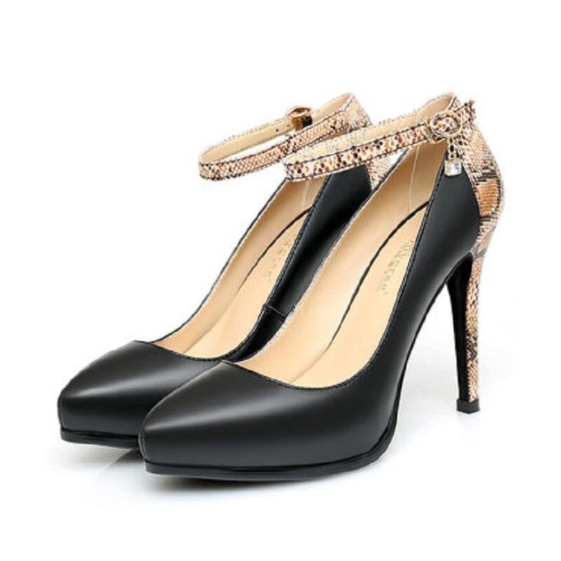 Negro Impermeables Plataforma Tacón Señoras Alto De Nueva Hebilla Otoño Stiletto Zapatos Primavera Cuero Palabra Y Señaló w6p1pqZxB