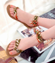 fashion print flower stain national style women sandals girl flat beach sandals lady shoes 3 colors