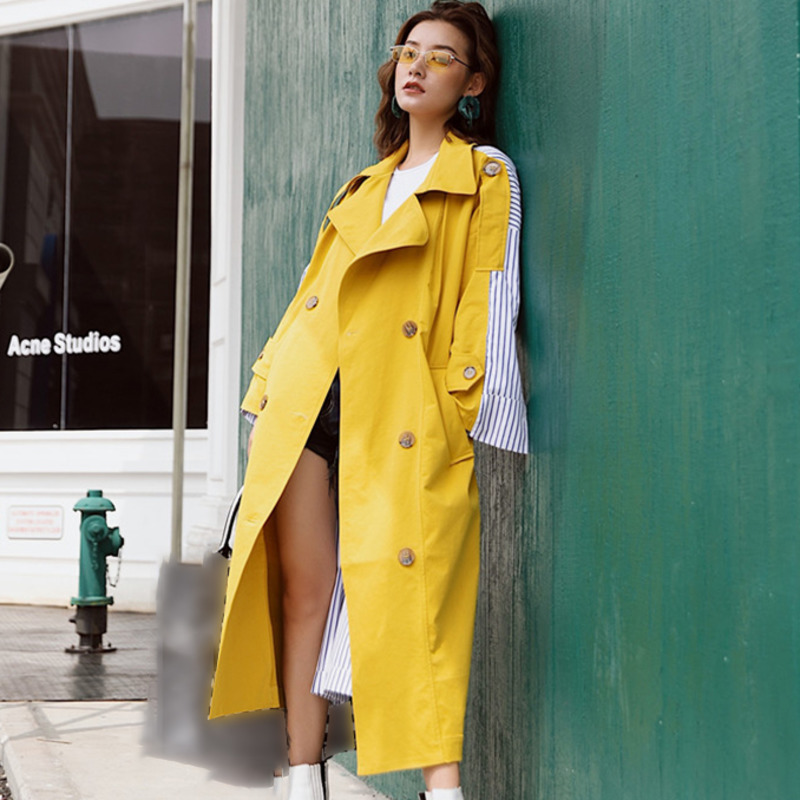 Patchwork Striped Windbreaker Coat Female Long Sleeve Personality long coat Lace Up   Trench   Overcoat Women Casual Clothes