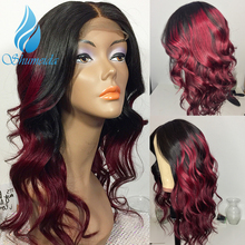 SHD 530# Color Ombre Lace Front Human Hair Wigs With Baby Body Wave Remy Indian Bleached Knots