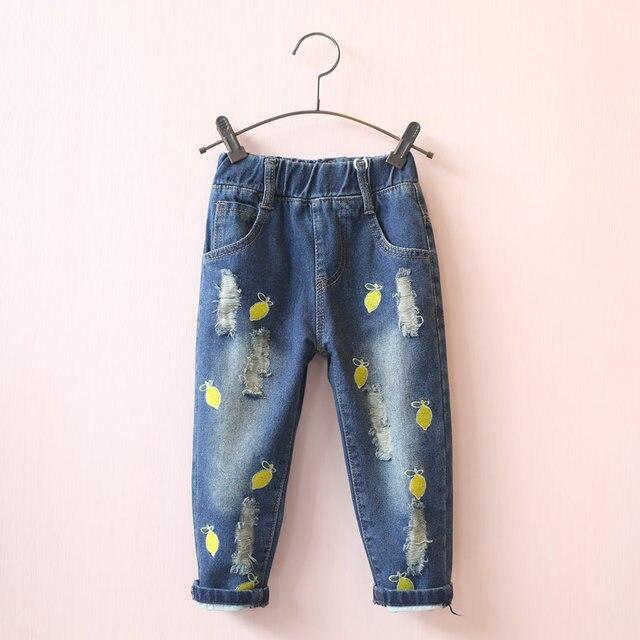 Девушки джинсы дети джинсовые синие рваные джинсы мультфильм lemon мультфильм отверстия моды брюки осень детей весенние брюки одежда 3-7 Т