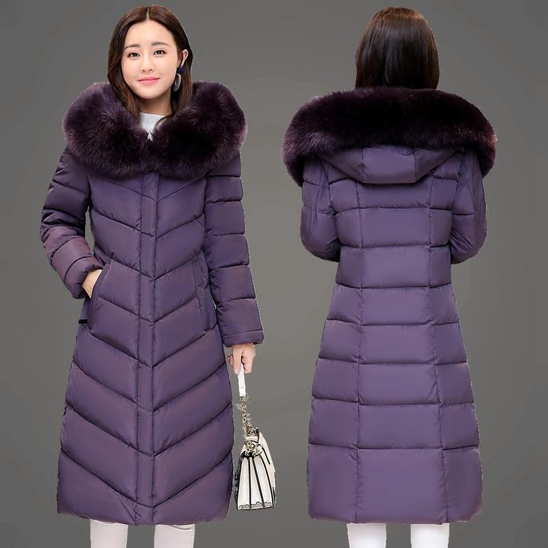 dark Veste Hiver Manteau Col Slim Bas Black red Vers Femmes Le Grande Long Purple Femelle blue Chaud Épais Genou Fourrure Taille La Version Coréenne De wBxfxq5Hd