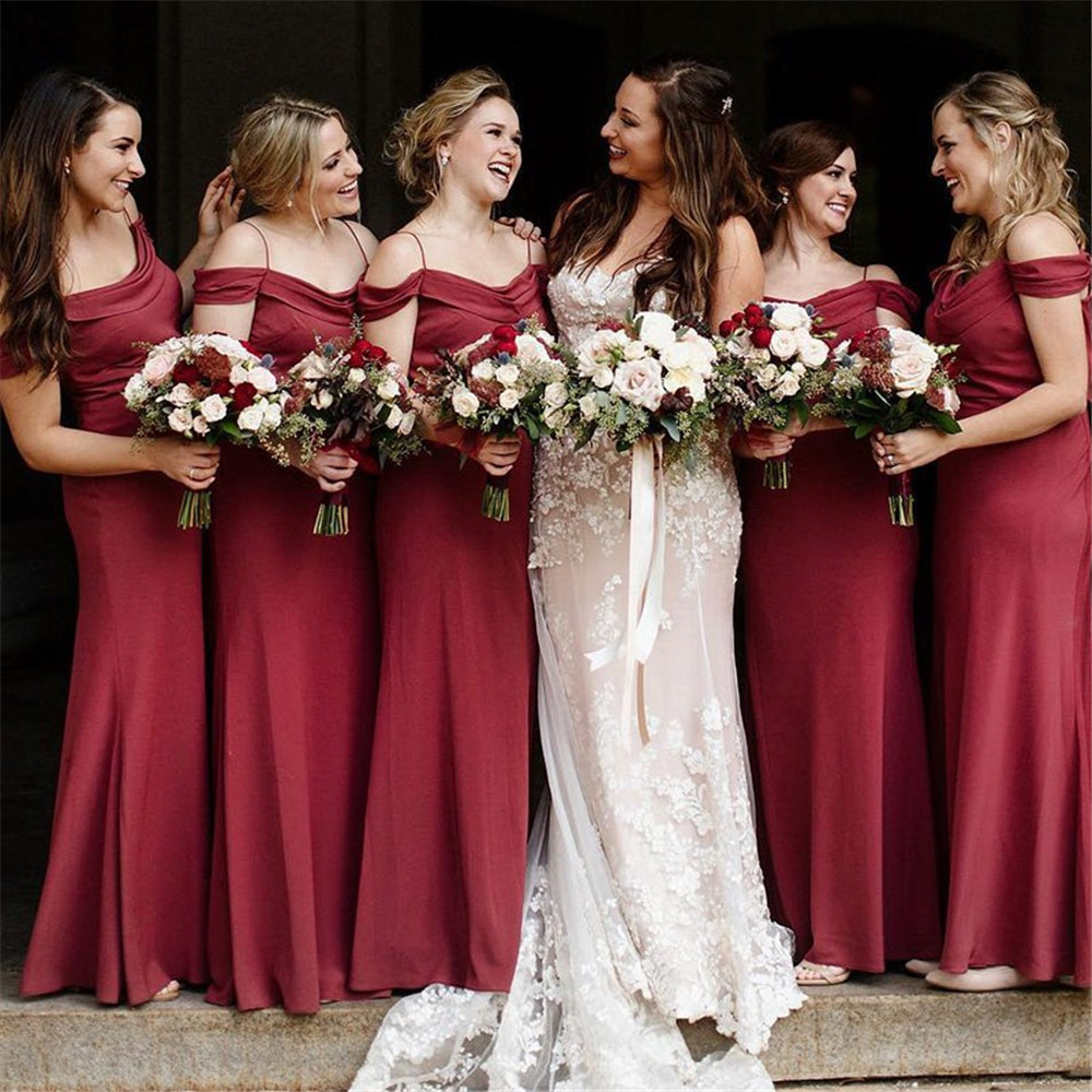 Burgundy Mermaid   Bridesmaid     Dresses   2019 Simple Floor Length Spaghetti Strap Elastic Satin Long Maid Of Honor   Dress   Cheap