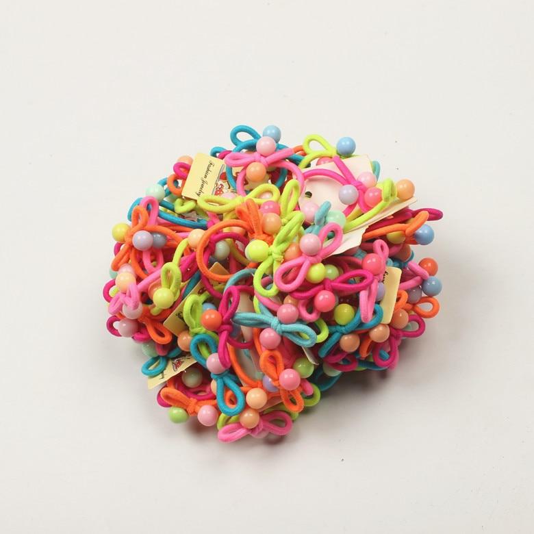 100 шт./лот Высокое качество сладкий карамельный цвет Детские эластичные резинки для волос мини волосы галстук детские резиновые повязка на волосы для девушек аксессуары для волос