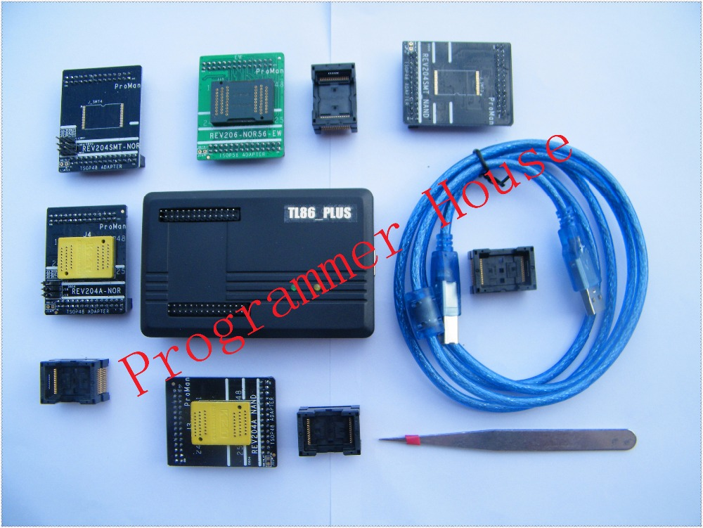 все цены на Free shipping ProMan TL86_Plus nor nand programmer repair tool copy NAND FLASH data recovery tool+TSOP48&56 TSOP56 adapter онлайн