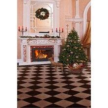Lareira Cenário Impresso Guirlanda de natal Bolas de Ouro Decorados Pine Árvore Alces Brinquedos Crianças Família Indoor Fundo Festa de Natal