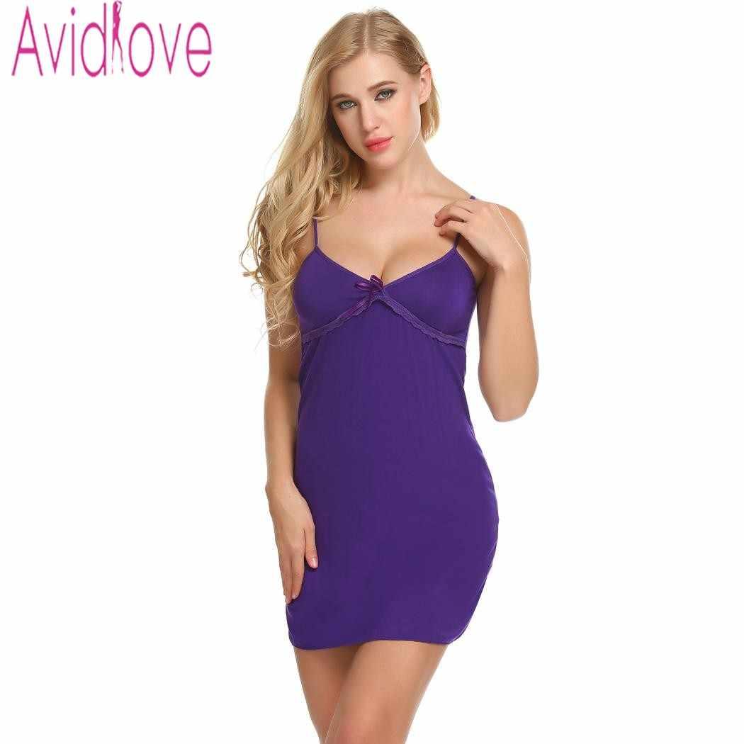 c6ae5589d9ff Avidlove хлопок Sleepdress сексуальное платье ночи Для женщин Ночная  рубашка летние ...