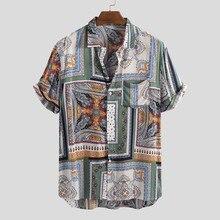 camisas Mens Shirt Summer Vintage Ethnic Printed Turn Down C