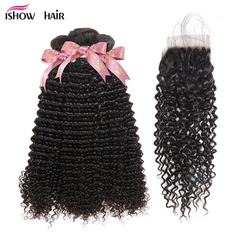 Ishow Kinky Curly Bundles With Closure Brazilian Hair Bundles With Closure Free Part Lace Closure With Bundles Remy Human Hair