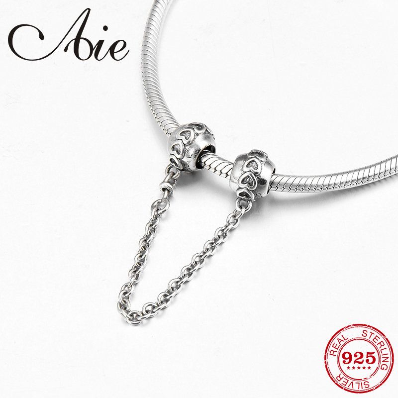 Heart shape pattern 925 Sterling Silver DIY for fashion Safety Chain Bead Fit Original Pandora Charms Bracelet Jewelry making Beads     -