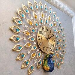 ¡Calor! Reloj de pared pavo real creativo Simple y moderno para el hogar, reloj de pared 3D para sala de estar, reloj silencioso moderno, reloj de cuarzo decorativo