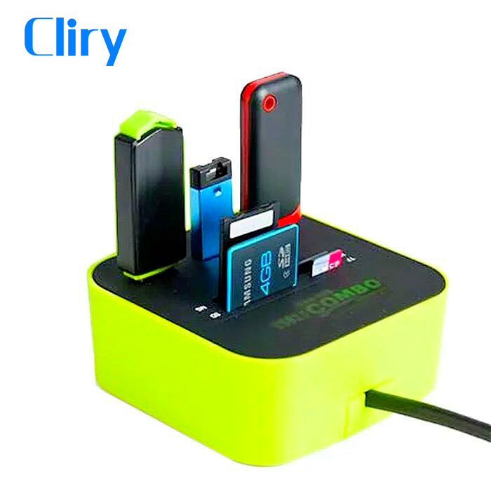 Cliry USB HUB Combo All In One USB 2.0 Micro SD High Speed Card Reader 3 Ports Adapter Connector For Tablet PC Computer Laptop