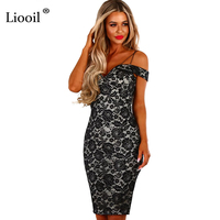 Liooil Black Lace Bodycon Dress Spaghetti Strap Deep V Neck Floral Embroidery Elegant Party Dresses Sexy