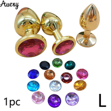 AUEXY Golden Huge L Anal Jewel Plug Metal Buttplug Big Analplug Stainless Steel Butt Plugs Large Adults Sextoy for Woman Men Gay