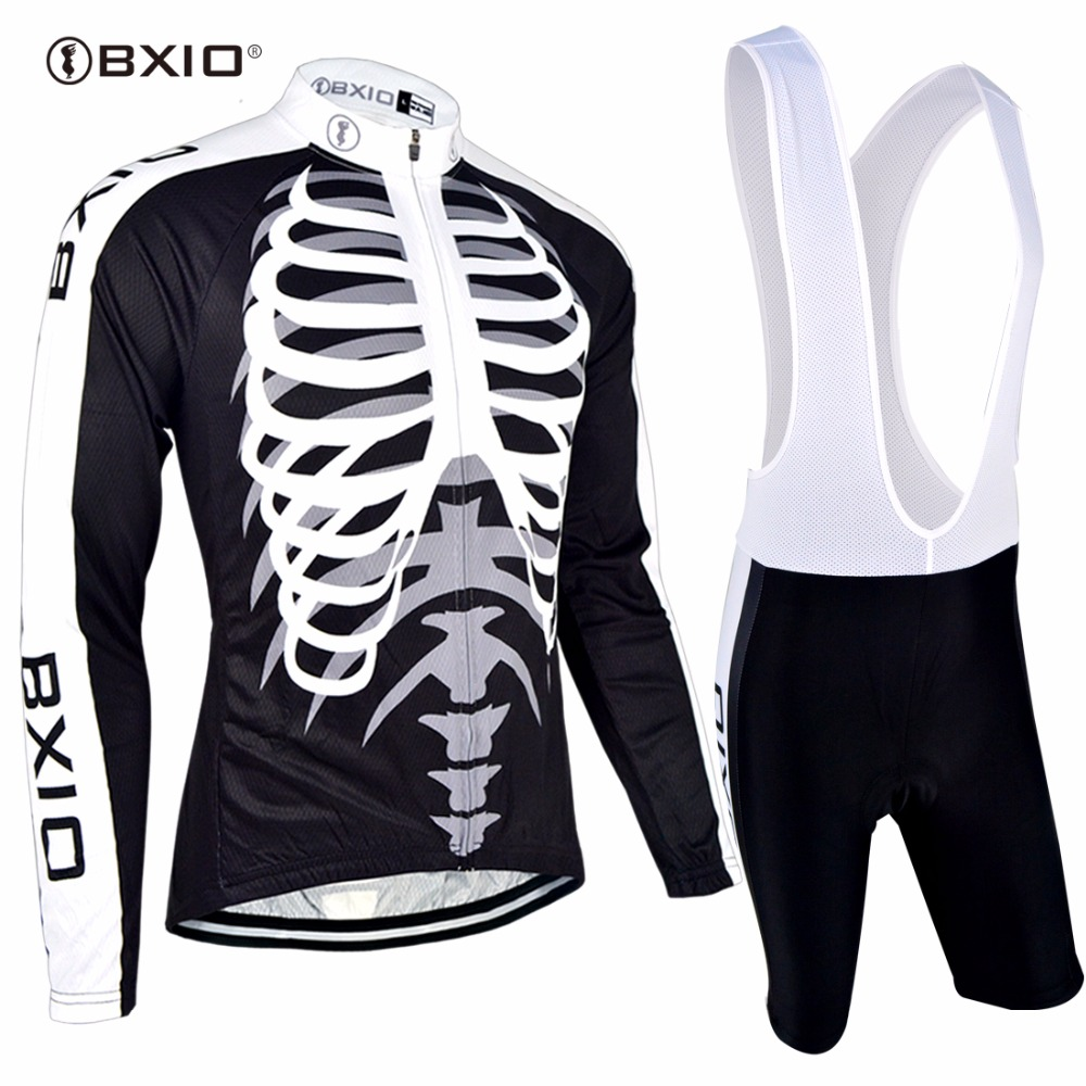 Bxio Long Sleeve Cycling Sets Pro Autumn Mountain Bike Clothing MTB Black Skull Bicycle Jerseys Top