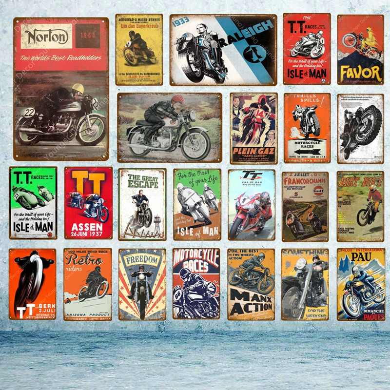 TT Isle Of Man Metal Poster Retro Motorcycle Races Plaque Wall Art Painting Plate Pub Bar Garage Home Decor Vintage Tin Signs