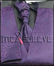 New arrival free shipping  new 4pcs tuxedo purple waistcoat (vest+ascot+cufflinks+handkerchief)