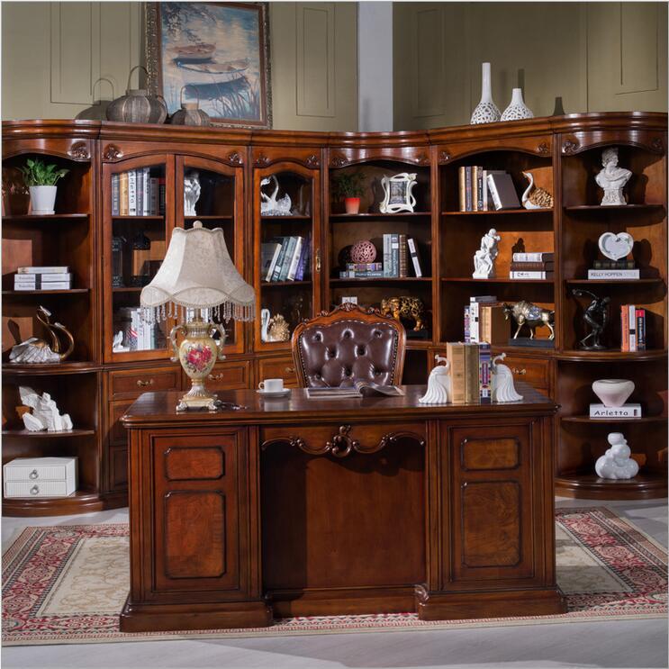 American furniture dark color office desk study desk with drawer storage function p10275