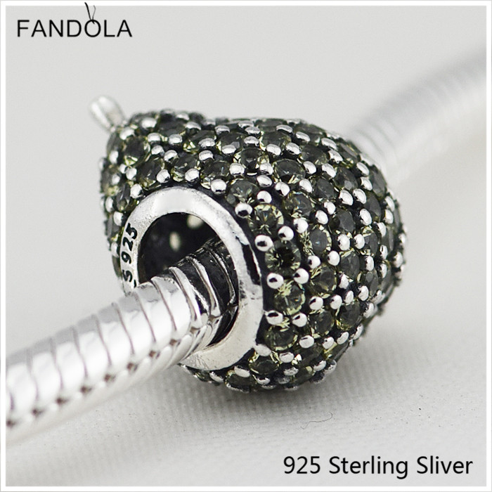 925 Sterling Silver Jewelry Pear Charm Light Green Crystal Fit for Pandora Charm DIY Making Bracelet