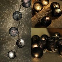 С переключателем черный ватный шарик для дома Рождественская елка Декоративный Сказочный светильник s, светильник гирлянды на батарейках AC110v AC220v