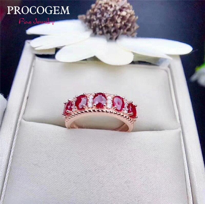 Anneaux naturels de rubis de birmanie de sang de Pigeon pour des femmes fiançailles 3x4mm aucune pierres précieuses véritables chauffées bijoux fins S925 argent #411