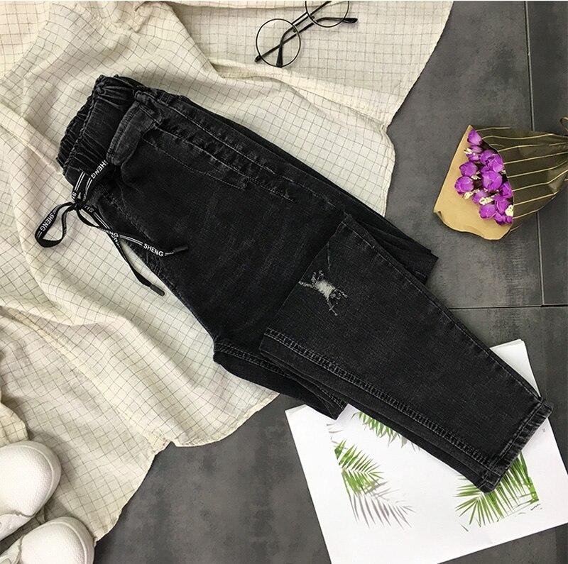 Décontracté Mode Taille Z958 Maigre Coréenne Jeans Femmes Spéciale Des Pantalon Cordon Denim Offre Conception Elastique Trous Black Long Chic Longs ax5qCPp