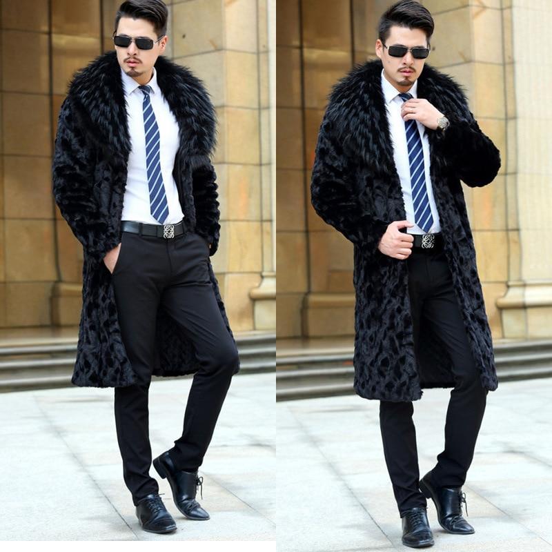 S/6XL Male Long Section Fake Mink Fur Coat Winter Autumn Warm Mens Large Size Faux Fur Outwears Black Casual Tops Newest D394