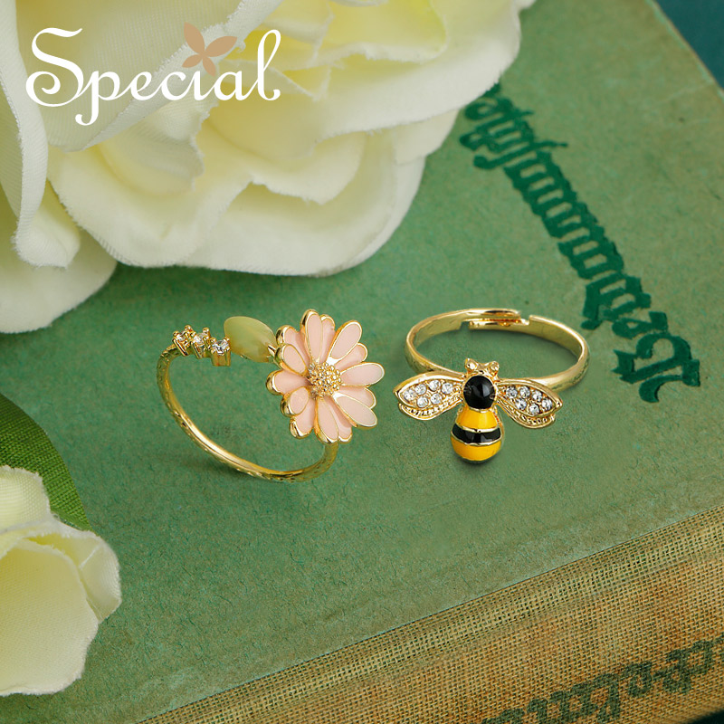 Special New Fashion Enamel Double Rings Adjustable Flower Party Ring End-open Bee Ring Romantic Jewelry Gifts for Women S1722R