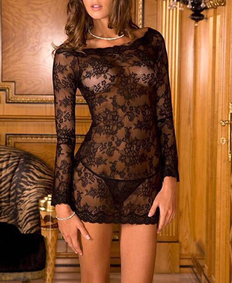 2PCS Long Sleeve Lace Chemise & Thong Set Nightgowns Women Sexy Nightwear Sheer Mini Nightdress Babydoll &G-string Set Sleepwear