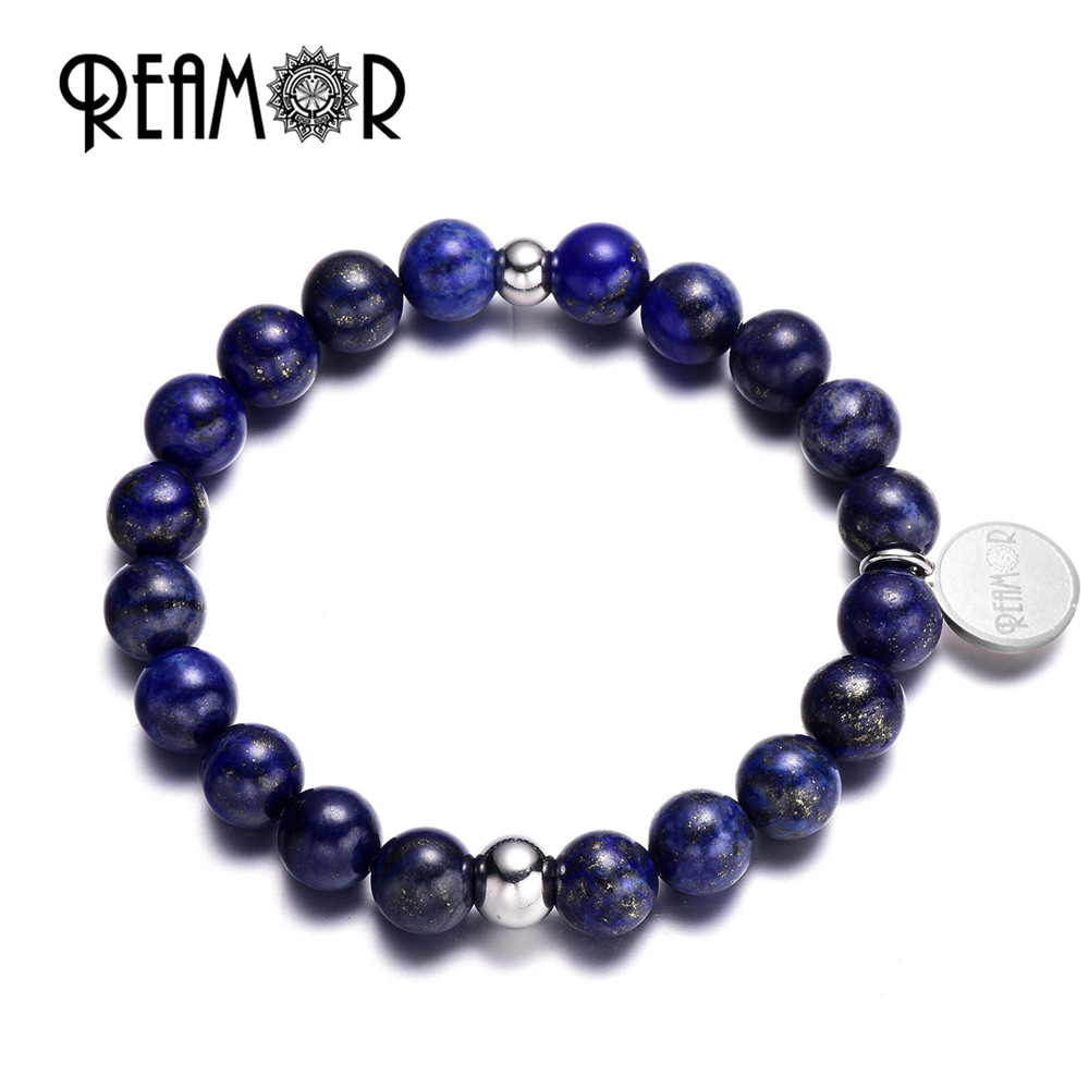 Stainless Steel Bracelet Charms: REAMOR Trendy Blue Lapis Lazuli Natural Stones Bracelet