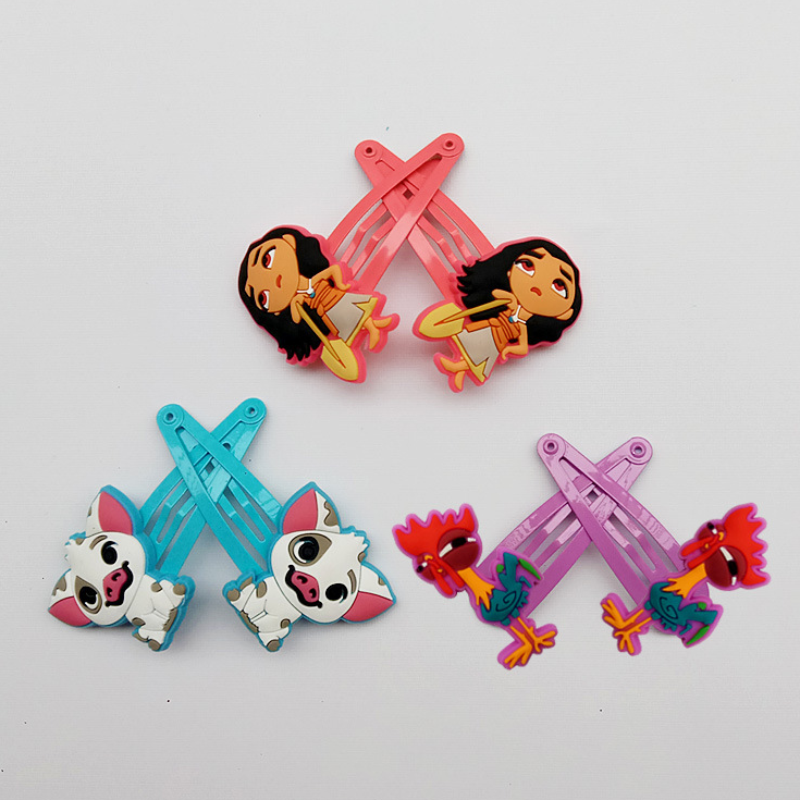 Hot Sale 6pcs Lovely Moana Princess Hair Clip For Girls High-quality Hairclips Baby Hairpins Action Figure Toy Birthday Gifts