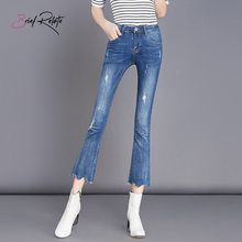 Brief Relate jeans denim Bell Bottoms skinny ninth pants elastic durable fashion design mid-waist