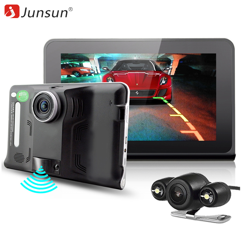 Junsun 7 inch Car GPS Navigation Android 4.4 DVR Radar Detector with GPS Navigator 16GB Russia Map vehicle sat nav