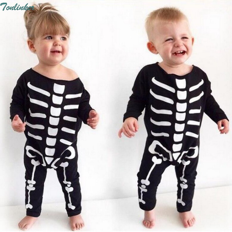 New Fashion Newborn Toddler Infant Baby Boys Girls Romper Long Sleeve Jumpsuit Playsuit Outfits Black Clothes Halloween costume
