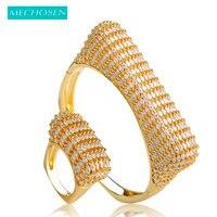MECHOSEN פאנק צבע זהב בסגנון אירופאי צמיד גדול מעוקב Zirconia טבעת סטי סטי תכשיטי נשים ליידי יד Aneis Feminino Pulseira