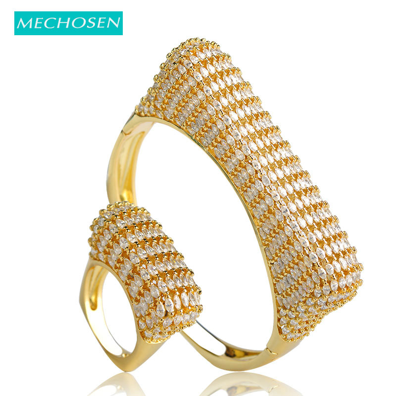 MECHOSEN Punk European Style Gold Color Big Bangle Ring Sets Cubic Zirconia Women Lady Pulseira Aneis Feminino Hand Jewelry Sets punk style solid color hollow out ring for women