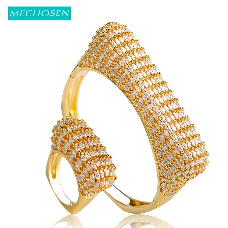 MECHOSEN Punk Style Européen Or Couleur Grand Bracelet jeux de bague zircone cubique Femmes Lady Pulseira Anéis Feminino bijoux de main Ensembles