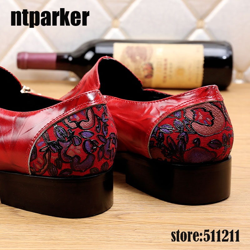 Designer Menmen Mode Verkäufe Eisen Leder Marke Mens Hochzeit Schuhe Toe Business Italienischen Rot Echtes Büro Spitz Ntparker 6aCqwF