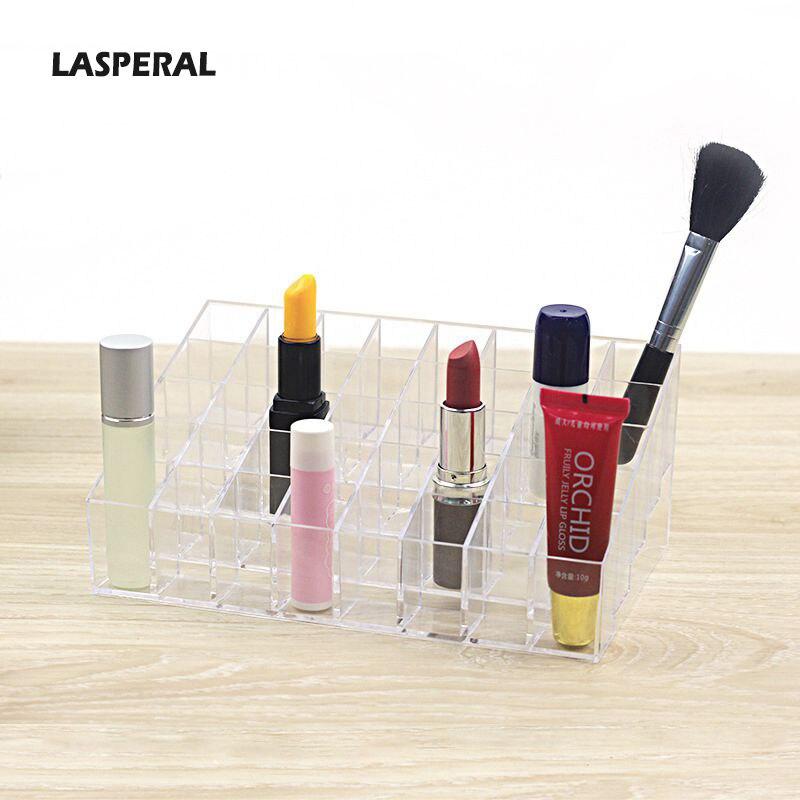 LASPERAL Makeup Organizers Lipstick Holder Desktop Storage Boxes Cosmetic Frame Bins Storage Transparent Display Pencil Arycli