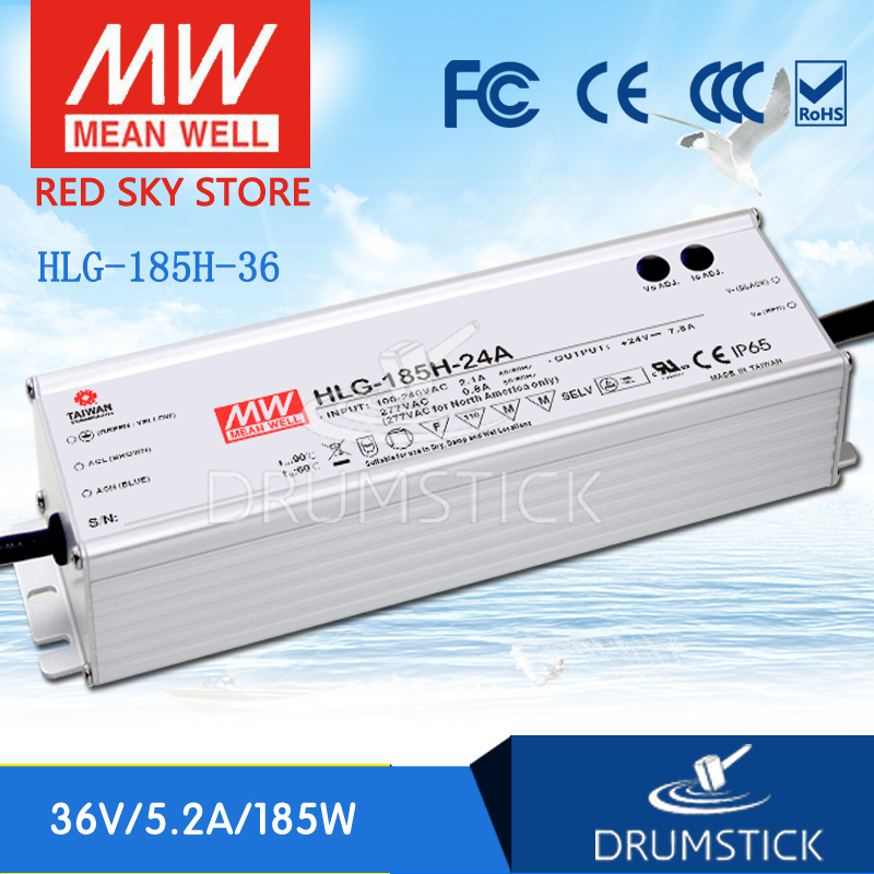 MEAN WELL HLG-185H-36 36V 5.2A meanwell HLG-185H 36V 187.2W Single Output LED Driver Power Supply genuine mean well hlg 320h 36b 36v 8 9a hlg 320h 36v 320 4w single output led driver power supply b type