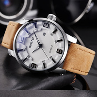Top Luxury Sport Casual Men Watches White Brown Genuine Leather Blue Glass Stylish Personality Quartz Man