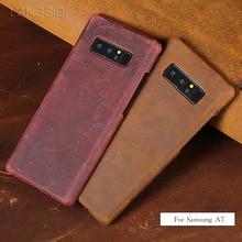 wangcangli For Samsung Galaxy A7 case Luxury handmade cow leather back phone