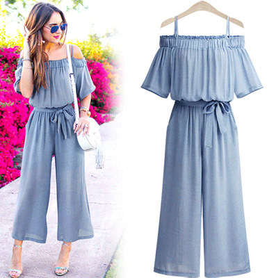 Women Slash neck Spaghetti Stra lace up loose jumpsuit waist wide leg trousers Causal Romper Overalls Fat MM large size L-4XL