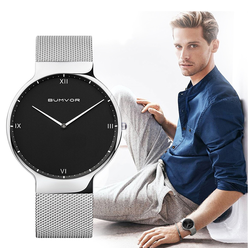 Fashion Stainless Steel  Luxury Mesh Band Bracelet Watch Men Stainless Steel Wrist Watch of  Black & Silver Band Watch stylish 8 led blue light digit stainless steel bracelet wrist watch black 1 cr2016